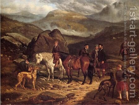 Hunting on the Scottish Highlands by Arthur Fitzwilliam Tait - Reproduction Oil Painting