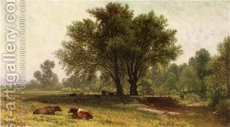 Landscape with Cows by Aaron Draper Shattuck - Reproduction Oil Painting