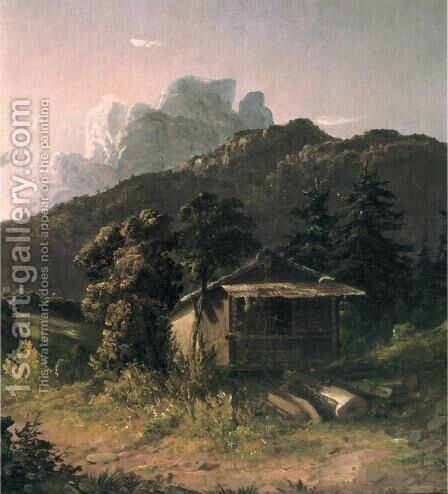 House in the Adirondacks by David Johnson - Reproduction Oil Painting