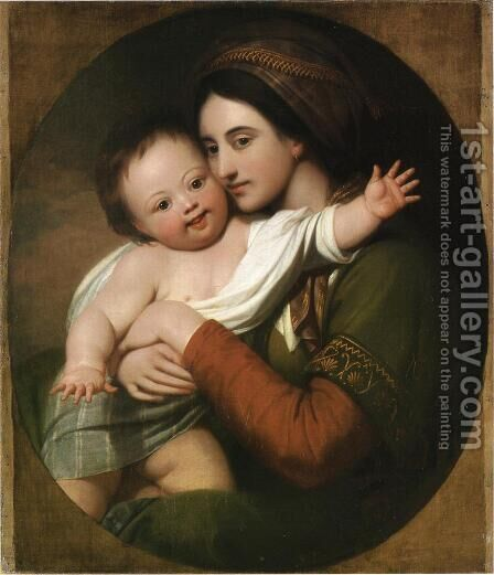 Mrs. Benjamin West and Her Son Raphael by Benjamin West - Reproduction Oil Painting