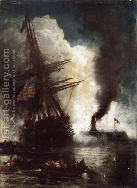 Battle Between Ironclad, Merrimac and Chesapeake by Edward Moran - Reproduction Oil Painting
