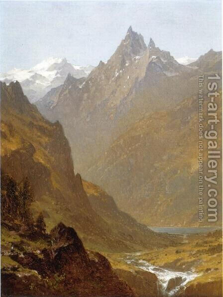 Swiss Scene by Sanford Robinson Gifford - Reproduction Oil Painting