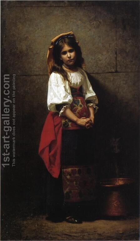 L'Italienne by Charles Sprague Pearce - Reproduction Oil Painting