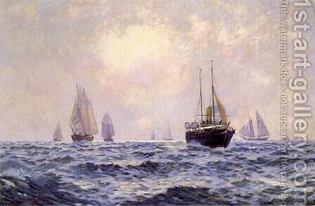 A Breezy Morning off Newport by Carlton Theodore Chapman - Reproduction Oil Painting