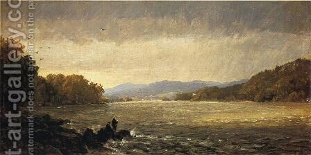 A View Upstream by Jasper Francis Cropsey - Reproduction Oil Painting