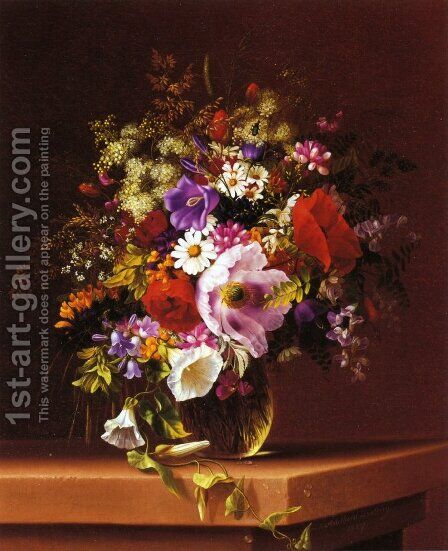Wildflowers in a Glass Vase by Adelheid Dietrich - Reproduction Oil Painting