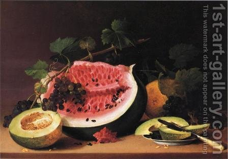 Still Life with Watermelon by James Peale - Reproduction Oil Painting