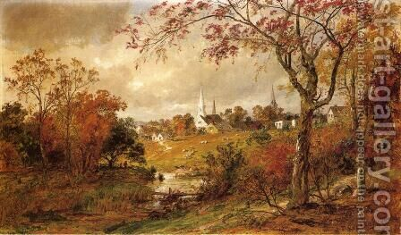 Autumn Landscape - Saugerties, New York by Jasper Francis Cropsey - Reproduction Oil Painting
