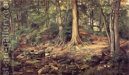 Young Girl at Forest Spring by Charles Lewis Fussell - Reproduction Oil Painting