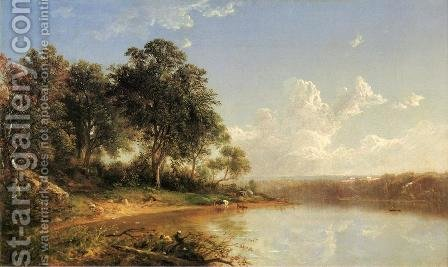 Afternoon along the Banks of a River by David Johnson - Reproduction Oil Painting