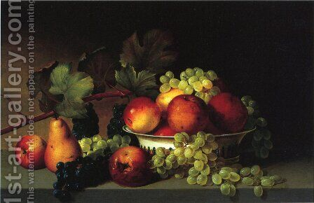 Still Life: Apples, Grapes, Pear by James Peale - Reproduction Oil Painting