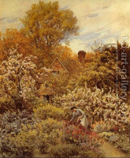 A Spring Garden by Helen Mary Elizabeth Allingham, R.W.S. - Reproduction Oil Painting
