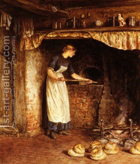 Baking Bread by Helen Mary Elizabeth Allingham, R.W.S. - Reproduction Oil Painting