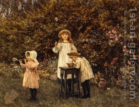 Bubbles by Helen Mary Elizabeth Allingham, R.W.S. - Reproduction Oil Painting