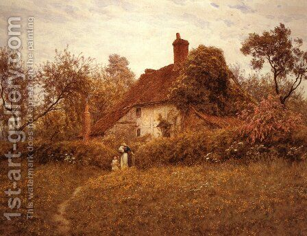 Cottage at Pinner by Helen Mary Elizabeth Allingham, R.W.S. - Reproduction Oil Painting
