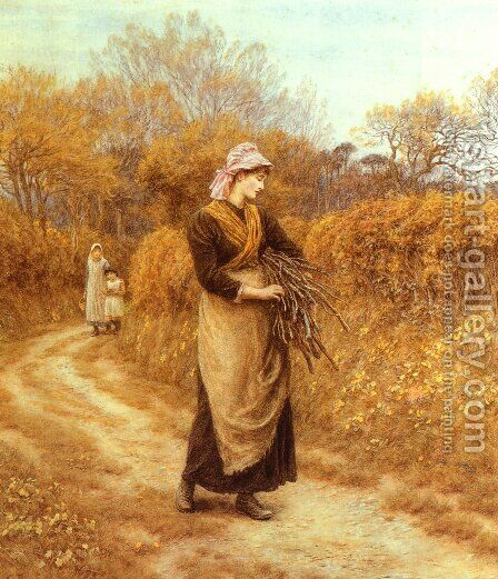 Gathering Firewood by Helen Mary Elizabeth Allingham, R.W.S. - Reproduction Oil Painting