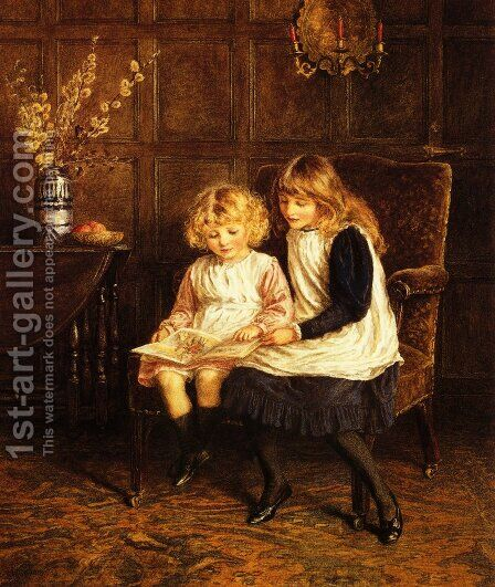 Reading Lesson by Helen Mary Elizabeth Allingham, R.W.S. - Reproduction Oil Painting