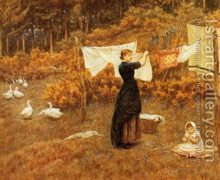 The Clothes Line by Helen Mary Elizabeth Allingham, R.W.S. - Reproduction Oil Painting