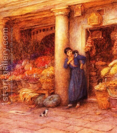 Venetian Fruit Stall by Helen Mary Elizabeth Allingham, R.W.S. - Reproduction Oil Painting