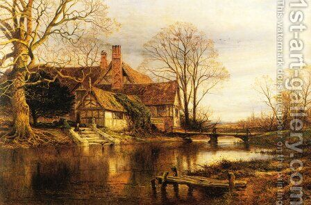 A Moated Grange by Benjamin Williams Leader - Reproduction Oil Painting