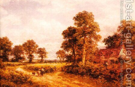 The Lane at Whittington, Worcestershire by Benjamin Williams Leader - Reproduction Oil Painting