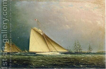 Puritan Racing Off of Staten Island by James E. Buttersworth - Reproduction Oil Painting