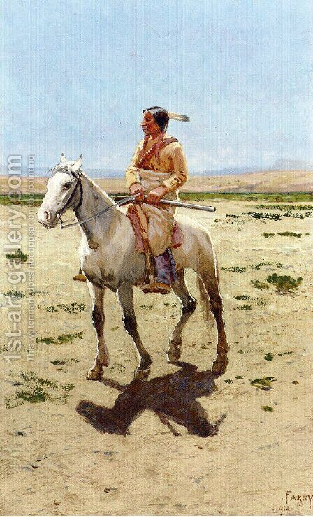 Cheyenne Scout by Henry Farny - Reproduction Oil Painting