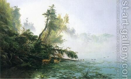 Misty Morning on Racket Lake by James McDougal Hart - Reproduction Oil Painting