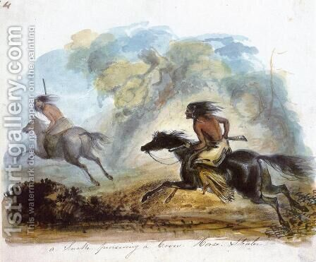 A Snake Pursuing a Crow Horse Stealer by Alfred Jacob Miller - Reproduction Oil Painting