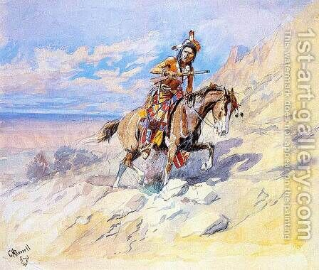 Indian on Horseback by Charles Marion Russell - Reproduction Oil Painting