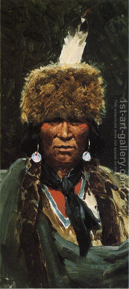 Chief Ogallala Fire by Henry Farny - Reproduction Oil Painting