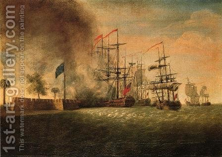 Sir Peter Parker's Attack Against Fort Moultrie by James Peale - Reproduction Oil Painting