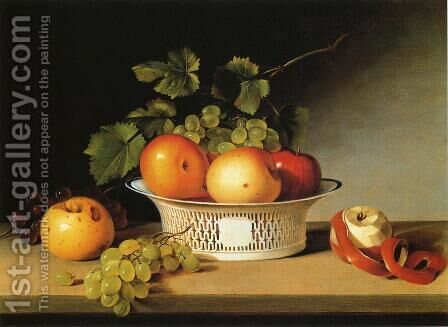 Apples and Grapes in a Pierced Bowl by James Peale - Reproduction Oil Painting