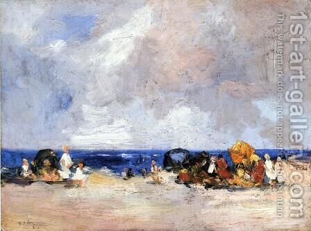 A Day at the Beach by Edward Henry Potthast - Reproduction Oil Painting