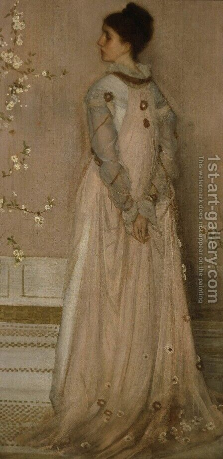 Symphony in Flesh Colour and Pink: Portrait of Mrs. Frances Leyland by James Abbott McNeill Whistler - Reproduction Oil Painting
