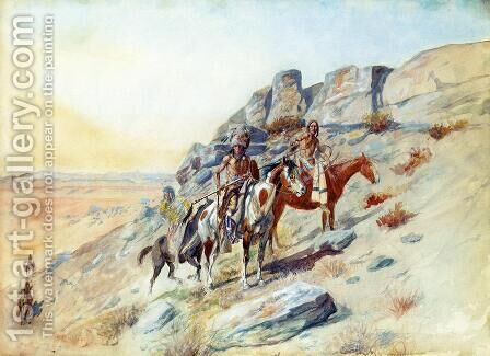 Sighting the Enemy by Charles Marion Russell - Reproduction Oil Painting