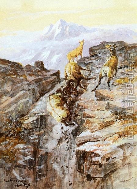 Big Horn Sheep by Charles Marion Russell - Reproduction Oil Painting