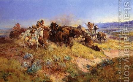 Buffalo Hunt No.40 by Charles Marion Russell - Reproduction Oil Painting
