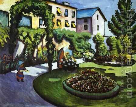 Garden Picture by August Macke - Reproduction Oil Painting