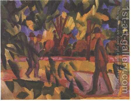 Riders and Strollers in the Avenue by August Macke - Reproduction Oil Painting