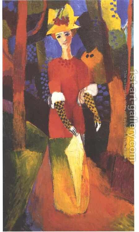 Woman in Park by August Macke - Reproduction Oil Painting