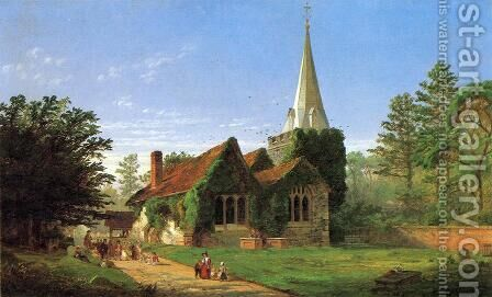 The Church at Stoke Poges by Jasper Francis Cropsey - Reproduction Oil Painting