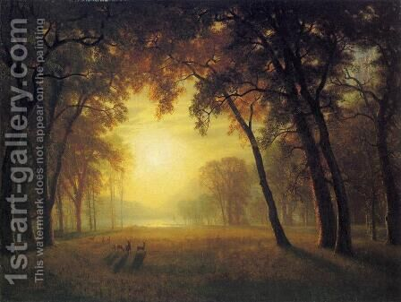 Deer in a Clearing by Albert Bierstadt - Reproduction Oil Painting