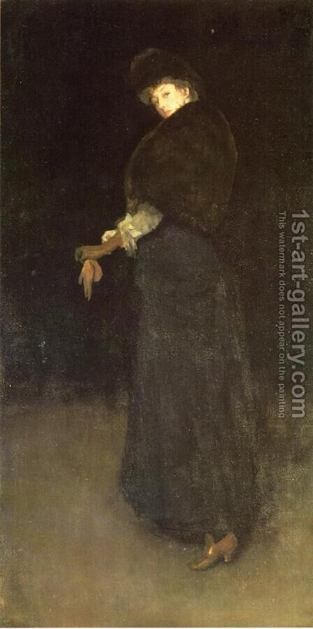 Arrangement in Black: The Lady in the Yellow Buskin by James Abbott McNeill Whistler - Reproduction Oil Painting