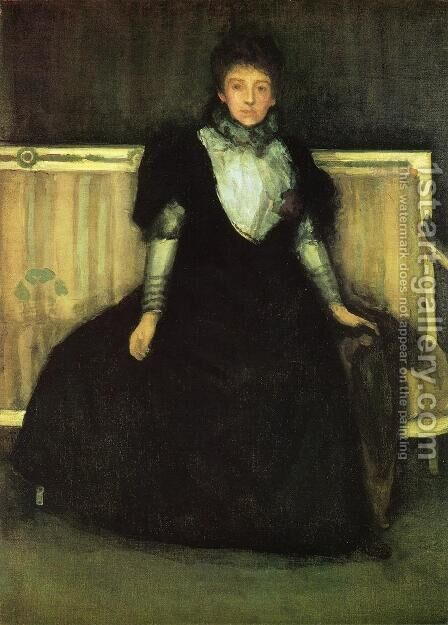Green and Violet: Portrait of Mrs. Walter Sickert by James Abbott McNeill Whistler - Reproduction Oil Painting