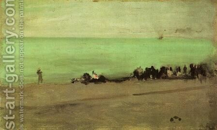 Blue and Silver: Boat Entering Pourville by James Abbott McNeill Whistler - Reproduction Oil Painting