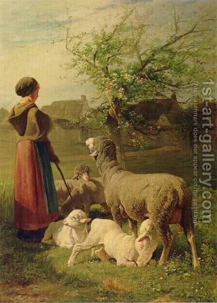 Springtime by Charles Émile Jacque - Reproduction Oil Painting