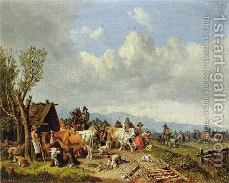 The Village Cattle Market by Heinrich Bürkel - Reproduction Oil Painting
