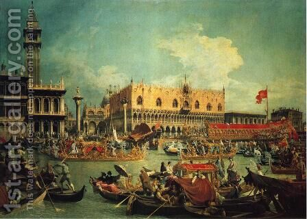 "The ""Bucintgoro"" by the Molo on Ascension Day by (Giovanni Antonio Canal) Canaletto - Reproduction Oil Painting"