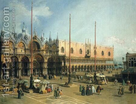 Piazza San Marco 2 by (Giovanni Antonio Canal) Canaletto - Reproduction Oil Painting